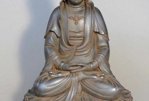 Quan Yin Seated on Double Lotus Antique Rust 24""