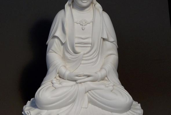 Quan Yin Seated on Double Lotus Marble Finish