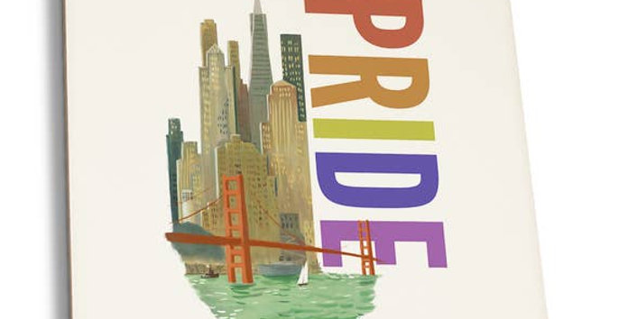 San Francisco Pride Watercolor Skyline Coaster