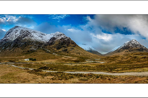 Little White Cottage at the banks of River Coe panorama