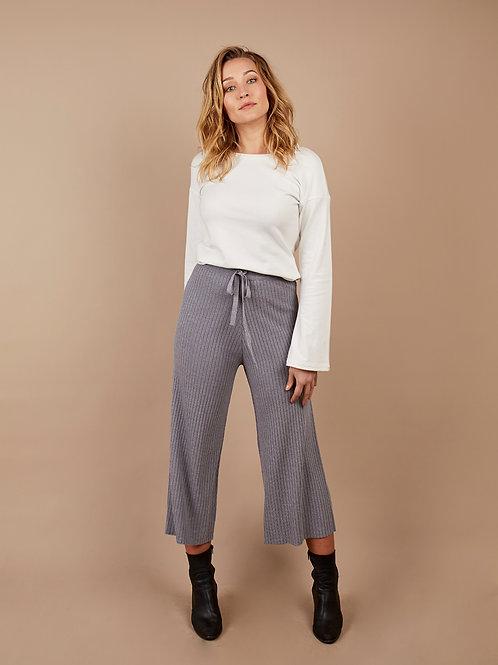 Rib Knit Pant in Grey