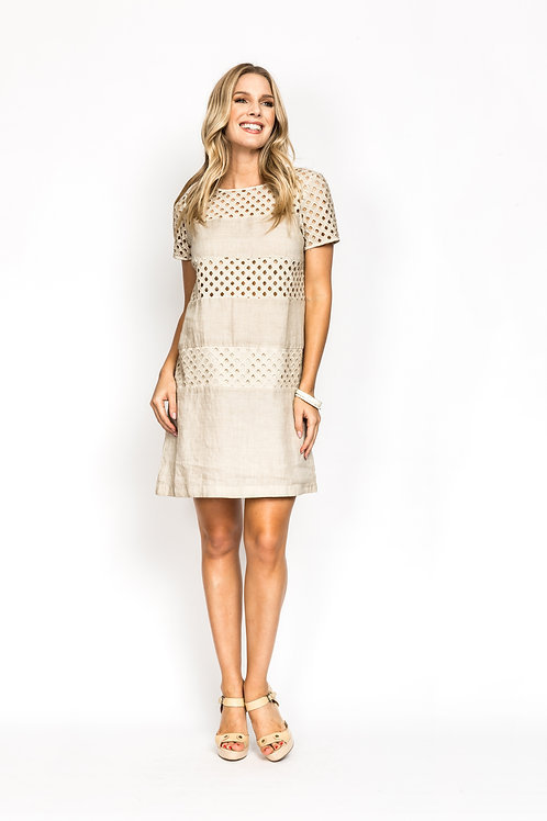 Linen Lace Inset Dress