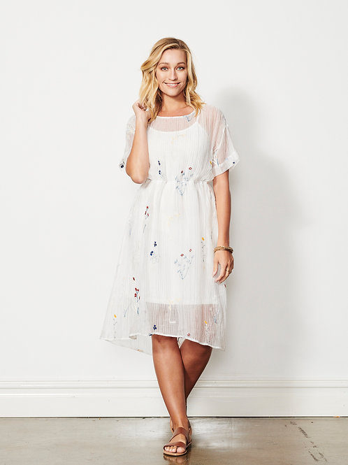 Embroidered 2pc Dress in Cream