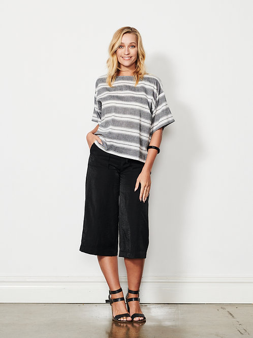 Linen Stripes Top in Grey