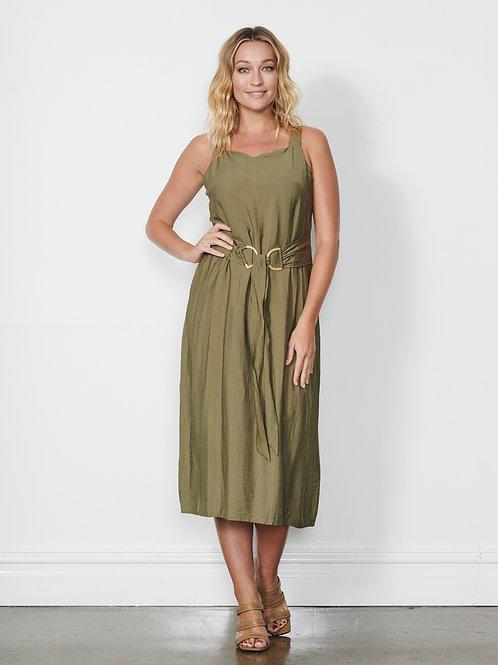 Waist Belt Dress in Olive