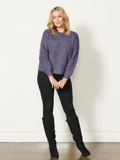 Wool Blend Knit Jumper in Purple
