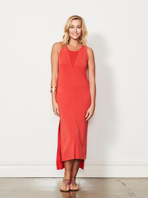 Double Mesh V Dress