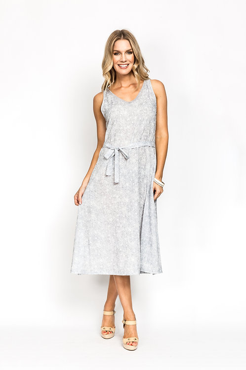 Lace Neck Dress with Belt