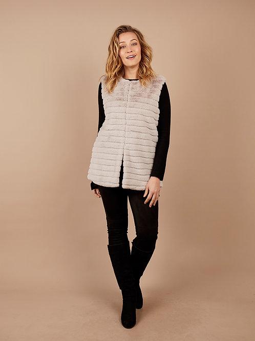 Faux Fur Vest in Almond