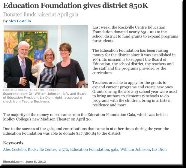 Rockville Centre Education Foundation gives district $50k