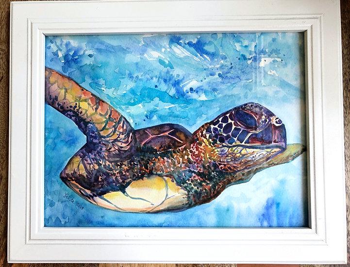 "Watercolor Turtle - Original 11x14"""