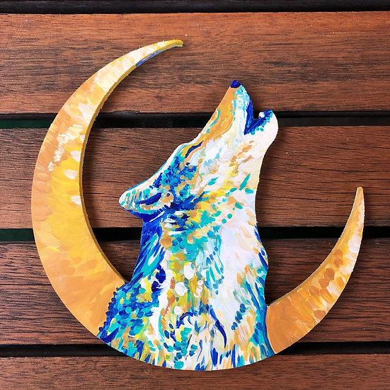 """Blue Wolf - Wooden Hanger 6"""""""