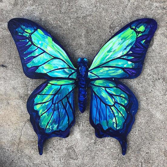 "Blue Butterfly - Wooden Hanger 12"""
