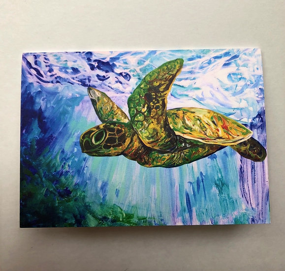 Flying Turtle - Greeting Card