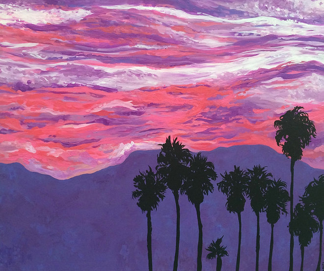 Burning Skies of LA - Original 18x20""