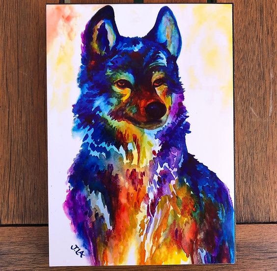 Technicolor Wolf- Block Print