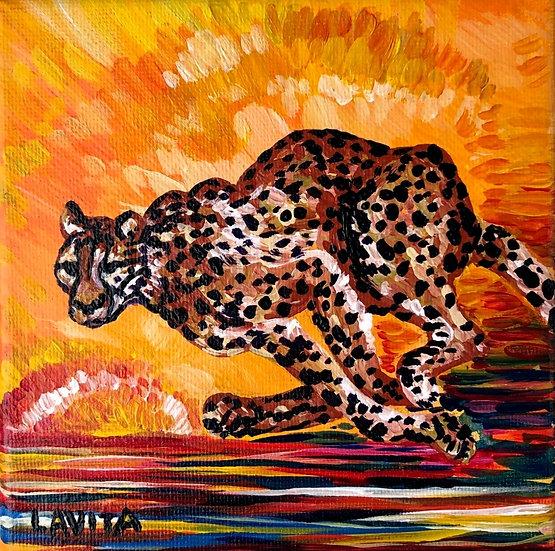 """Cheetah in Motion - Original 5x5"""""""