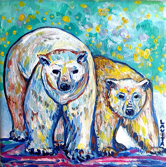 Polar Bears - Original 5x5""