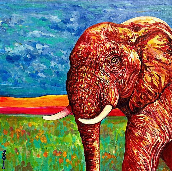 Elephant Cruisin' - Original 12x12'