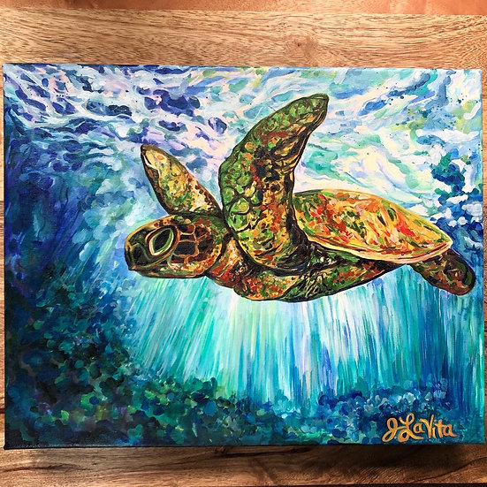 Flying Turtle - Artist Print 11x14""