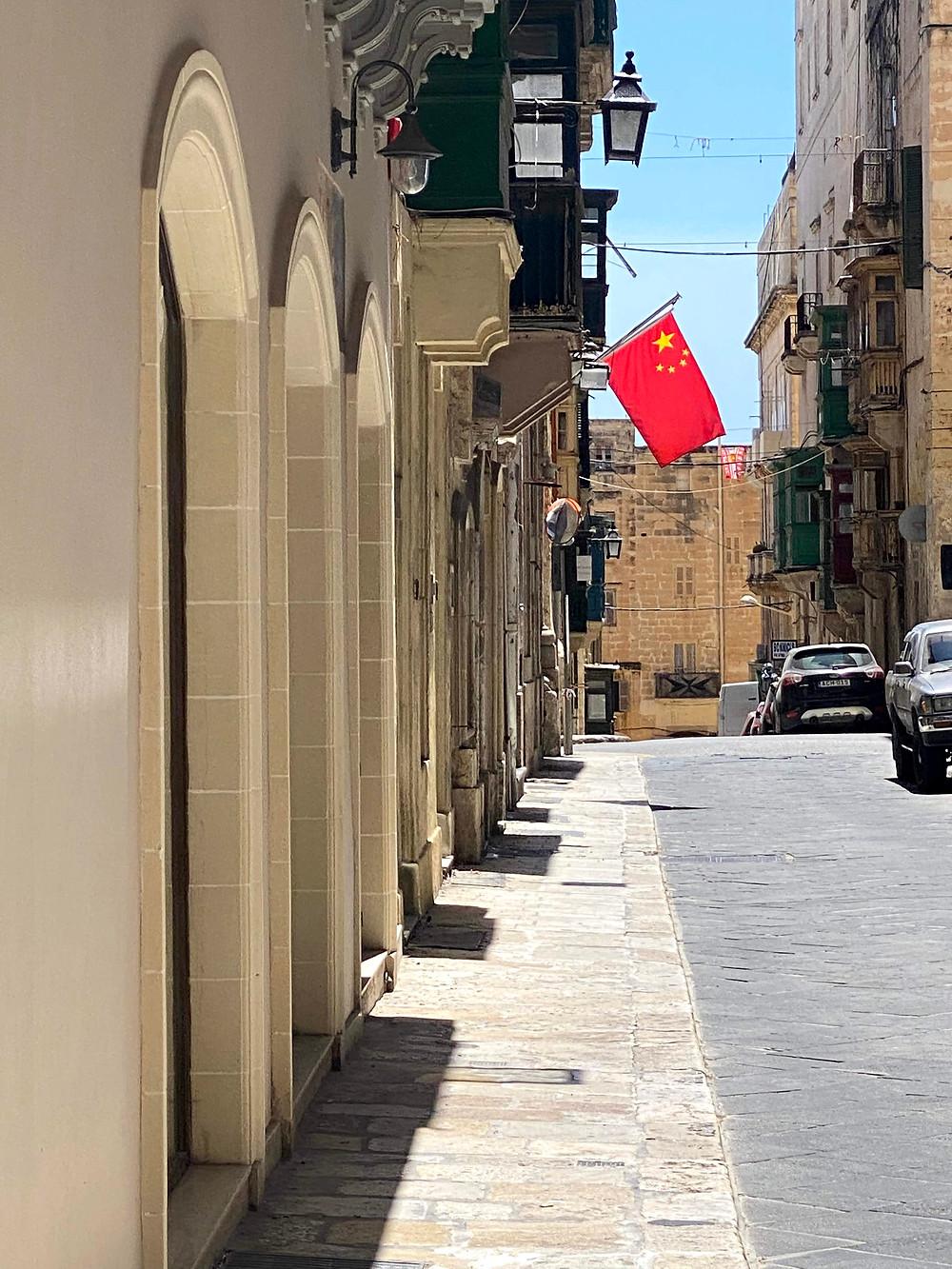 Chinese flag in Valletta, Malta