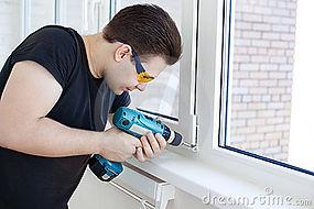 Glass installer in action!