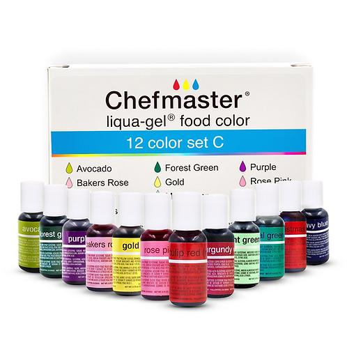 Chefmaster Liqua Gel 12 Color Kit .70 oz Food Coloring Version C