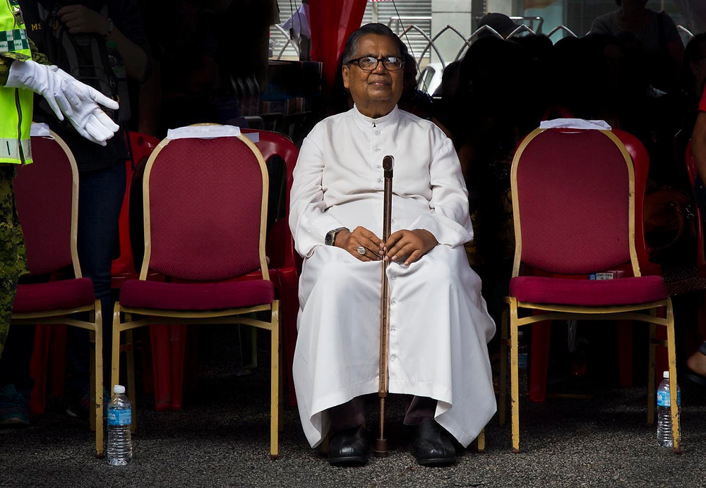 serembanonline picture of Malaysia's first Cardinal of the Roman Catholic Church, Rev Archbishop Anthony Soter Fernandez at Malaysia day at the Visitation church in Seremban by photographer Nic Falconer
