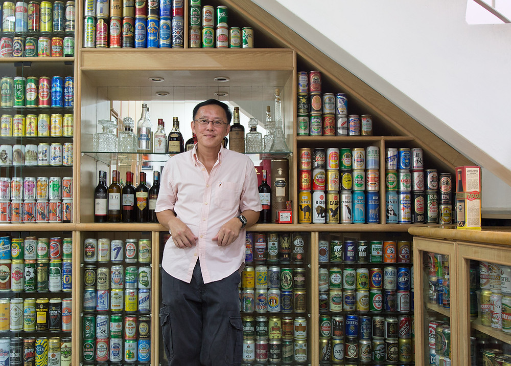 serembanonline nicaliss photograph of Richard Ng and his beer can collection photographer Nic Falconer