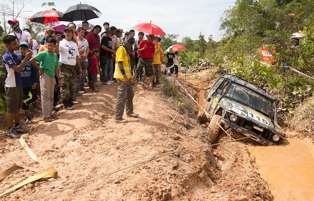The Malaysia Johor-Rentas team come to a halt in the mud bath.