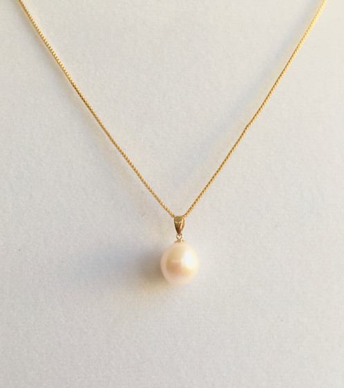 18kt real gold pendant freshwater pearl necklaces jewelry metal18 kt gold mozeypictures Image collections