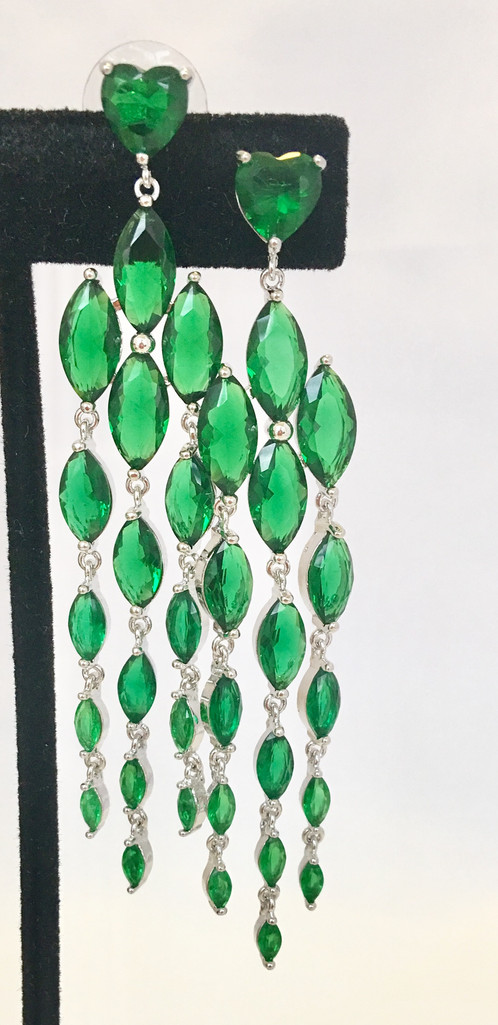 Emerald chandelier earringsgreen cubic zirconia jewelry emerald chandelier earringsgreen cubic zirconia mozeypictures Choice Image