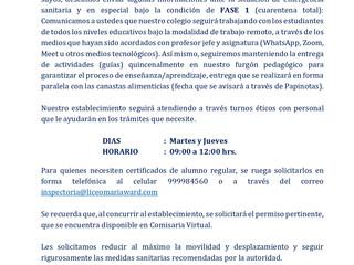Comunicado por Cuarentena en San Ignacio