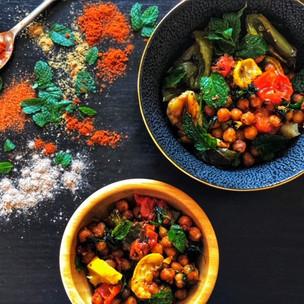 Pečený cizrnový salát s exotickým kořením a mátou