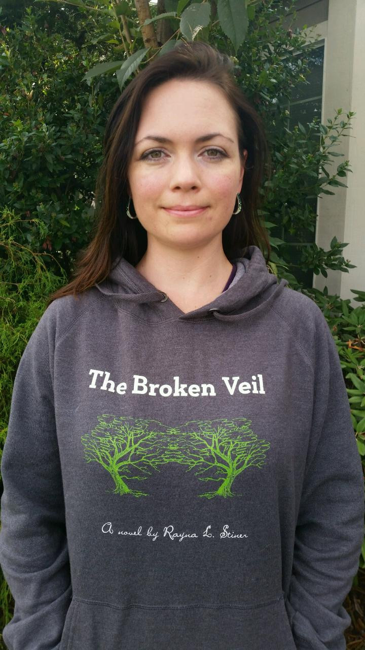 The Broken Veil hoodie, author Rayna L. Stiner
