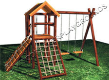 Fire Station Wooden Jungle Gym