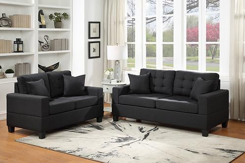 Hampton Black 2-PC Sofa and Loveseat Set