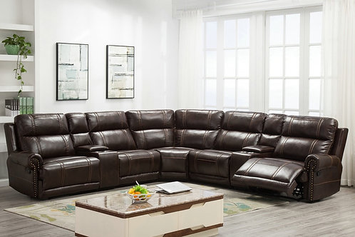 NOUR BROWN OVERSIZED SECTIONAL LEATHER RECLINER