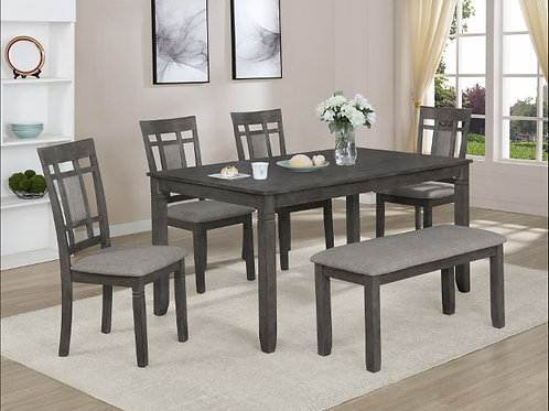 Paige 6-Piece Table and Chair Set with Bench