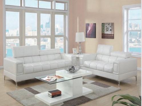 Poundex White 2-PC Sofa and Loveseat
