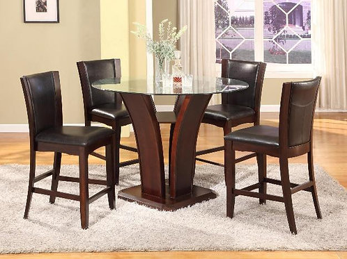 Camelia 5-PC Glass Counter Height Dining Table Set