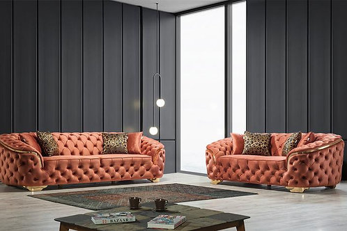 Lupino Orange Velvet 2-PC Sofa and Loveseat