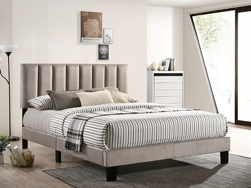 Lyric Grey Velvet Platform Bed