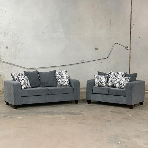Charcoal Gray 2-PC Sofa and Loveseat