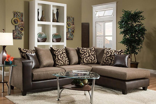 Rahim Brown Sectional w/ Accent Pillows