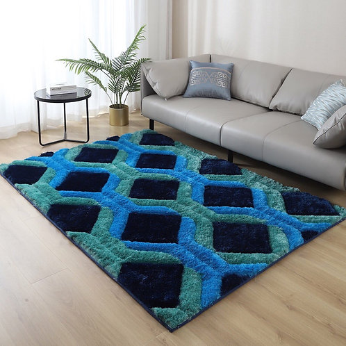 Crown Shag 3D Blue Area Rug