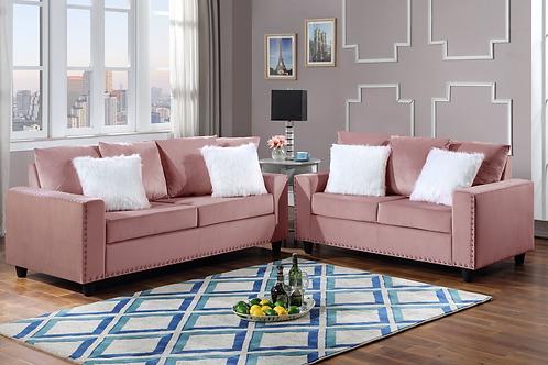 Cinderella Pink 2-PC Sofa and Loveseat