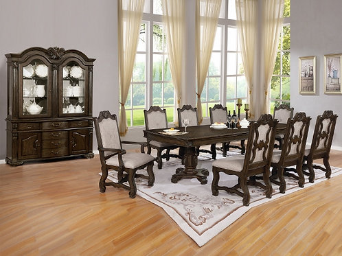 Neo Renaissance Double Pedestal Dining Table with Two 18 Inch Leaves