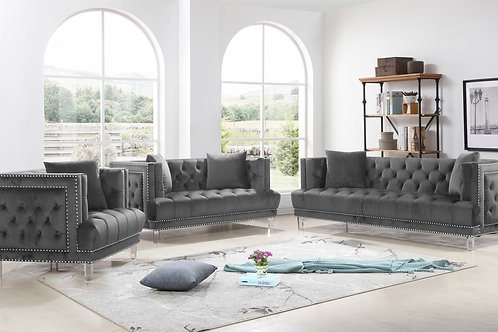 Lucas 3-PC Grey Sofa, Loveseat and Chair