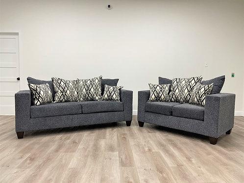 Steel 2-PC Sofa and Loveseat